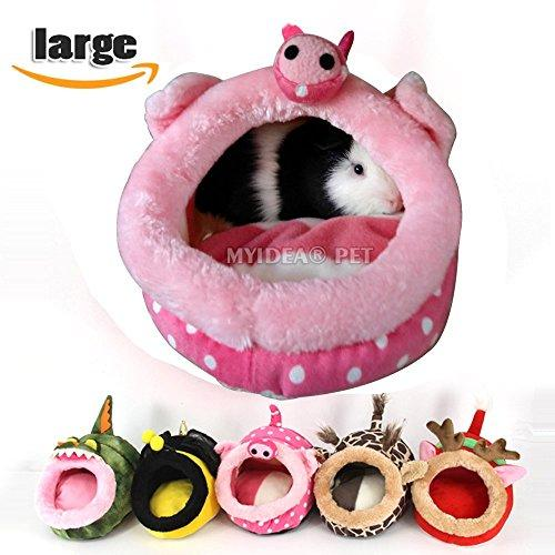 MYIDEA Guinea pigs House - Hedgehog, Lizard Nest , Chinchillas Bedding Small pet Animals Cube, Habitat, Lightweight, Durable, Portable, Cushion Big Mat For Christmas (Small Pet - L, Pink pig)