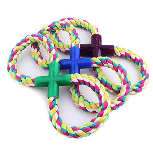 Zrong Pet Dog Cotton Braided Teeth Rope Chew Knot Playing Fetch Chew Toy Random Color