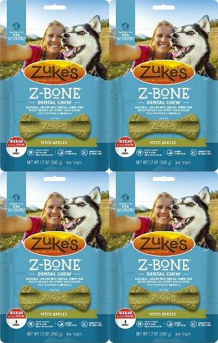 Zukes Z-Bones Edible Dental Chews Regular Apple Crisp 3lb 32ct(4x12oz)