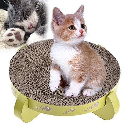 Yunt Cat Scratcher Cardboard Reversible Round Paper Bed Scratching Toys with Cat Vanilla to Scratch, Snuggle, and Rest