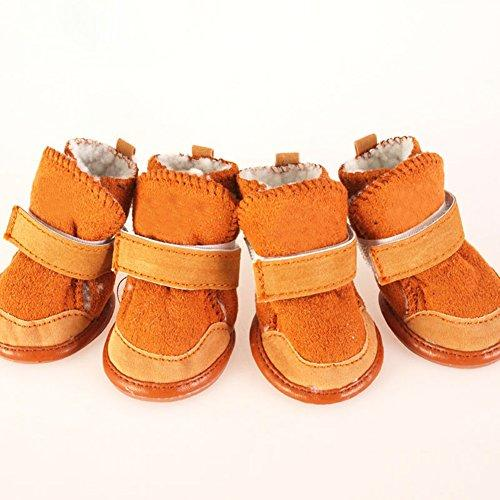 Zeroyoyo Cool Pet Dog Accessories Small Dogs Chihuahua Boots Winter Warm Puppy Brown Shoes Set of 4