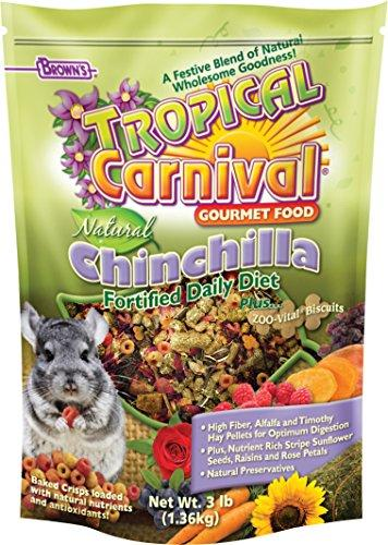 F.M. Brown's Tropical Carnival Natural Chinchilla Food, Vitamin-Nutrient Fortified Daily Diet with High Fiber Alfalfa and Timothy Hay Pellets for Optimum Digestion, 3lb