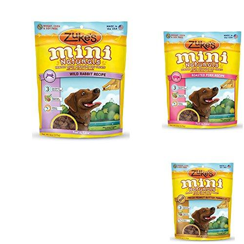 Zuke's Mini Naturals Healthy Moist Dog Treats Variety Pack - 6 Flavors (Roasted Pork, Wild Rabbit,, & Fresh Peanut Butter) - 6 oz Each
