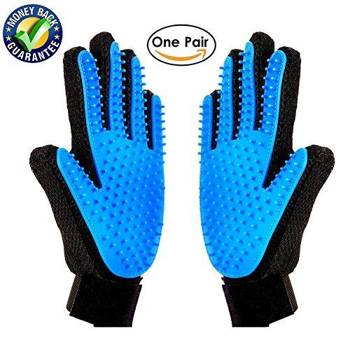 --[Upgrade Version] Pet Grooming Glove-Massage Tool Cleaning Shower Gentle Deshedding Brush Hair Remover Mitt with Enhanced Five Finger Design Long & Short Fur Comb for Dogs/Cats One Pair by Meetest--