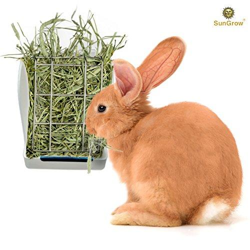 Rabbit Hay Feeder Rack --- Mess-Free Food Dispenser - Guarantees Clean and Dry Hay, Alfalfa and other Grasses - Also Ideal for Guinea Pigs, Chinchillas, Hamsters - Attaches to any cage Conveniently