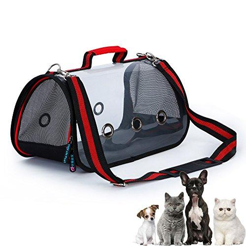 YamaziHD Pet Travel Carrier for Small Dogs and Cats, Clear-view shoulder Carry Bag for puppies , Pets Tote Crate Handbag (Small)