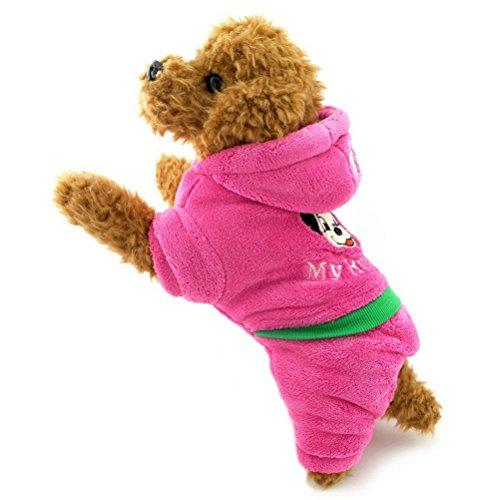 ZUNEA Thick Hooded Small Dog Winter Snowsuit Padded,Puppy Jumpsuit Hoodie Coat Fleece Pet Warm Jacket Pajamas Outwear Cotton Outfits Chihuahua Clothes Apparel Pink M