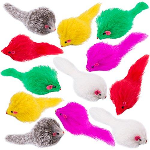 Real Fur Rattle Mice with Long Hair 12 Pcs, Colorful Rabbit Feather Cat Toys in a Collection Gift Box, Best Gift for Kittens