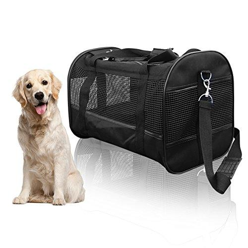 Pet Carrier Luxury Large Soft Sided Folable Pet Travel Tote with Removable Airline Approved Fleece Bedding for for Puppies, Cats and Pets - 19x11x12.6 inch