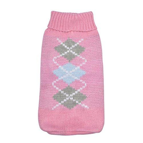 Yunt Pet Knitted Sweater Turn-down Collar Pet Clothing Wool Classic Sweaters Fashion Warm Dog Clothes for Dogs Cats Pink S