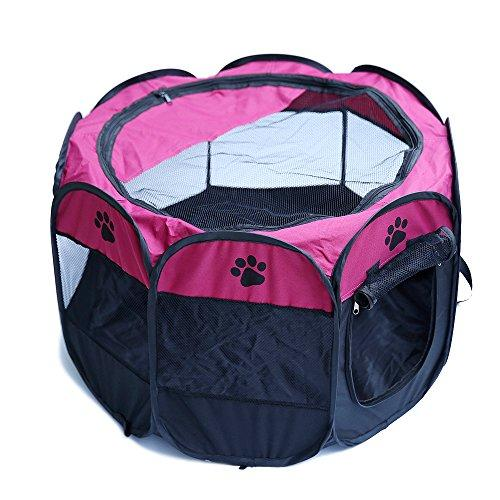 ZHRFei Pet Playpen Portable Foldable Kennel Puppy Dog Cat Rabbit Guinea Pig 600D Oxford Tents Crate Cage Fence 8 Panels, Wine Red