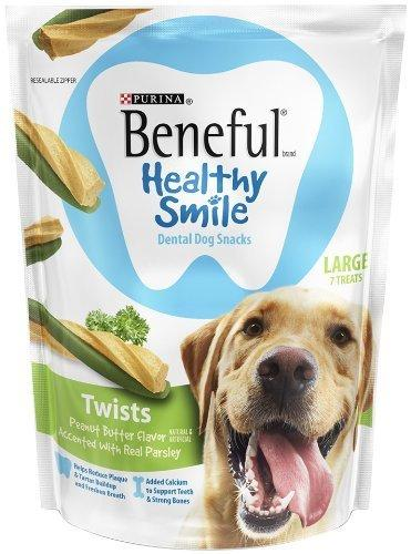 Purina Beneful Healthy Smile Dental Dog Snacks - For Large Dogs - Twists With Peanut Butter Flavor Accented With Real Parsley - 7 Treats Per Package - Pack of 2