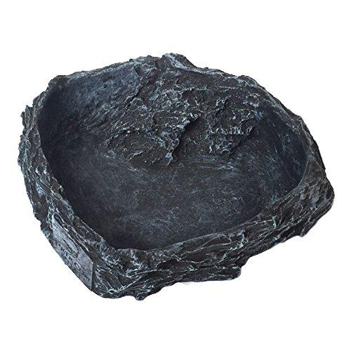 Vivid Funny Resin Reptile Tortoise Turtle Water Dispenser Dish Feeder Feeding Bowl Black