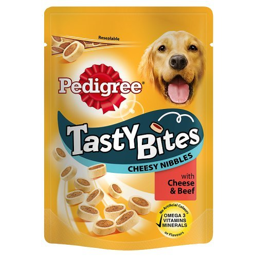 Pedigree Tasty Bites Dog Treats Cheesy Nibbles with Cheese & Beef 140g