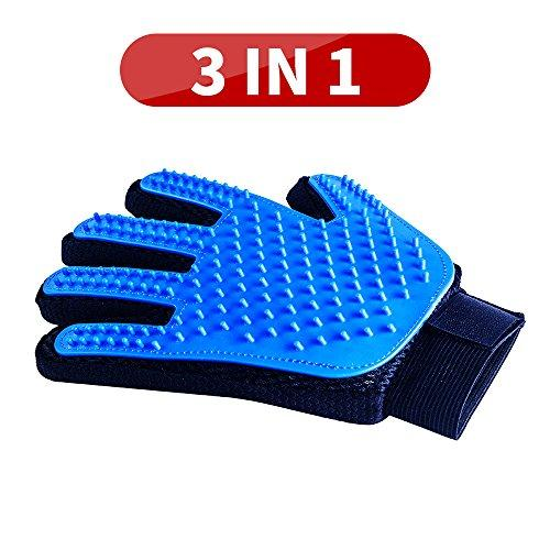[Upgrade] Pet Grooming Glove, 3 in 1 Gentle Deshedding Brush & Glove: Bathing, Massage & Deshedding Grooming Tool, Five Finger Design Hair Remover Mitt Brush Glove for Pets with Long or Short Fur