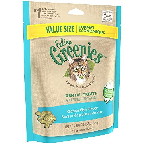 FELINE GREENIES Dental Treats For Cats Ocean Fish Flavor 5.5 oz. With Natural Ingredients Plus Vitamins, Minerals, And Other Nutrients