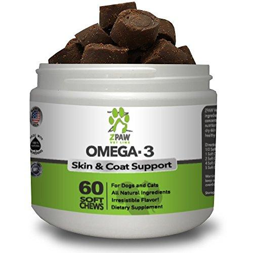 Omega 3 Chews For Dogs Skin and Coat Supplements By ZPAW | Dog Fatty Acid Treats Natural Omega from Fish Oil such as Salmon Oil and Krill Oil for Dogs and Cats 60 Treat Soft Chews