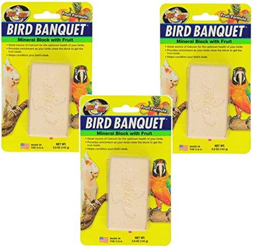 Zoo Med Mineral Blocks with Fruit Banquet Bird Food, 5-Ounce (3 Pack)