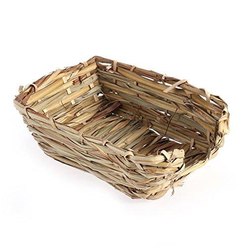 UEETEK Small Animal Straw Grass Bed House Rabbit Cage Ferret Hamster Gerbil Chinchillas Bed House Bird Cubby Nest Cage