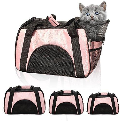 Pet Carrier Soft Sided Two-Tone Pet Bag Airline Approved Car Carriers with Removable Fleece Bedding Travel Tote Perfect for Puppy, Kitty and Small Pet