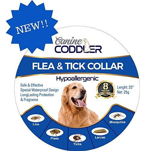 Canine Coddler Hypoallergenic Flea And Tick Prevention Control And Treatment Collar 8 Months Long Lasting Protection One Size Fits All Waterproof