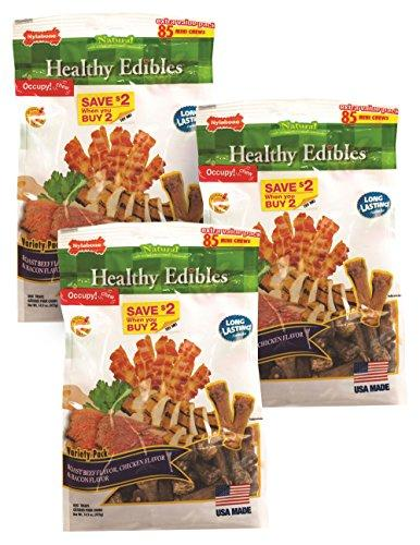 ValuePetSupplies Nylabone Healthy Edibles Variety Chews Roast Beef, Chicken & Bacon, Mini 255ct (3 x 85ct)