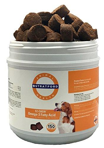 Stratford Pharmaceuticals EZ Chew Omega 3 Fatty Acid Soft Chew Max Strength - Dog Omega 3 Supplement - Soft Chew Treats with Fish Oil for Dogs - Small and Medium Dogs (150 Soft Chews)