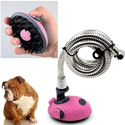 Paw Essentials Multi-Functional Handheld Pet Bath Sprayer & Shampoo Shower Brush for Dogs and Cats with Stainless Steel Hose (Pink)