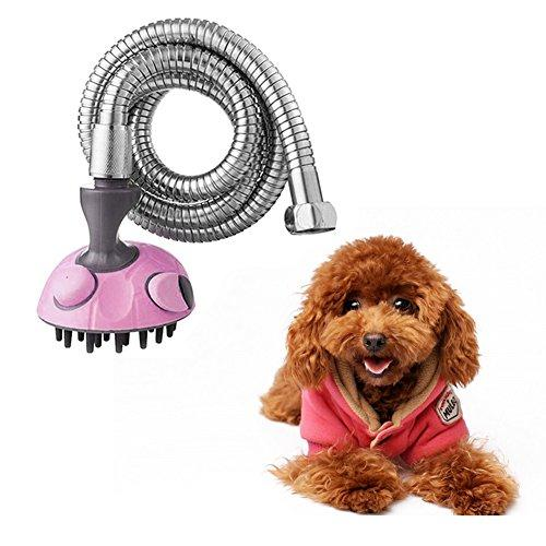 Multifunction Pet Bath Sprayer Dog Shower Brush Dog /Cat Grooming Washer with Massage Shampoo Brush Stainless Steel Hose for Indoor Outdoor Use (Pink)