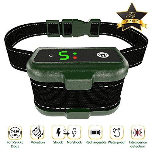 [NEWEST 2018] RECHARGEABLE Bark Collar - Smart Detection Chip - Dual Stop Anti Barking Modes: Beep/Vibration, Shock for Small, Medium, Large Dogs - IPx7 Waterproof - No Bark Training