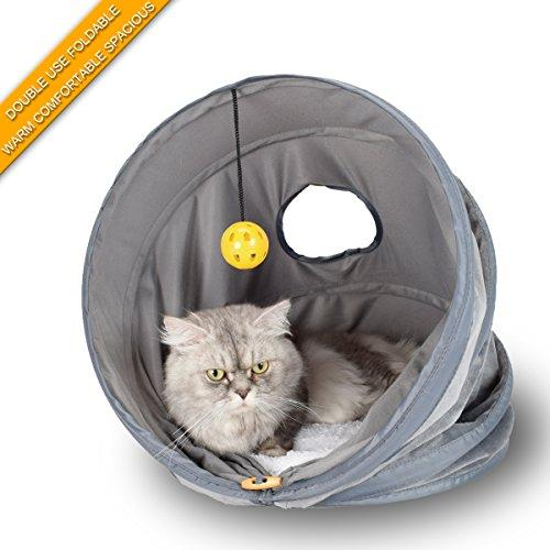 Pet cat house tent,(Large size)cat litter beds Multifunctional pet tunnel,doghouse and pet toys,collapsible,Often used in homes,outdoors,courtyards,parks,journey and car.for Cat/Kitty/Kitten.Grey
