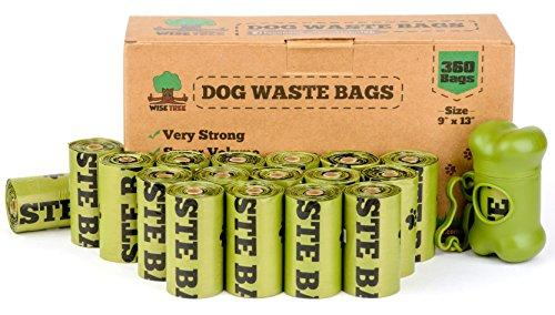 Wise tree Dog Waste Bags Green Color Refill Rolls (24 Rolls. 360 Count Unscented) Includes Dispenser by