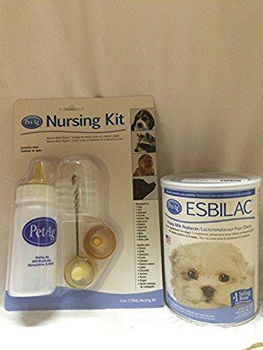 PetAg Nursing Kit Set and 12 Oz Esbilac Powder Puppy Milk Replacer Food Supplement for Dogs