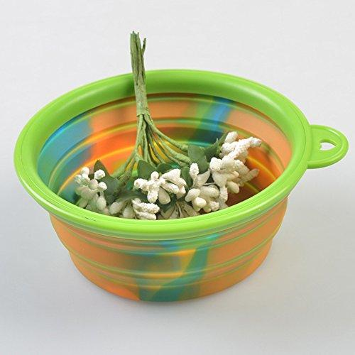 Zero Slow Down Feed Dog Bowl Folding Portable Out Pet Dog Food Water Silica Gel Bowl Flying Saucer Camouflage Cat Toy Outdoor Travel Accessories Supplies BL-306875,Green