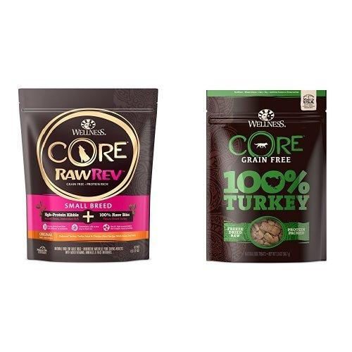 Wellness CORE RawRev Small Breed Protein Pack: Includes CORE RawRev Small Breed 4lb. and 100% Freeze Dried Turkey Treats