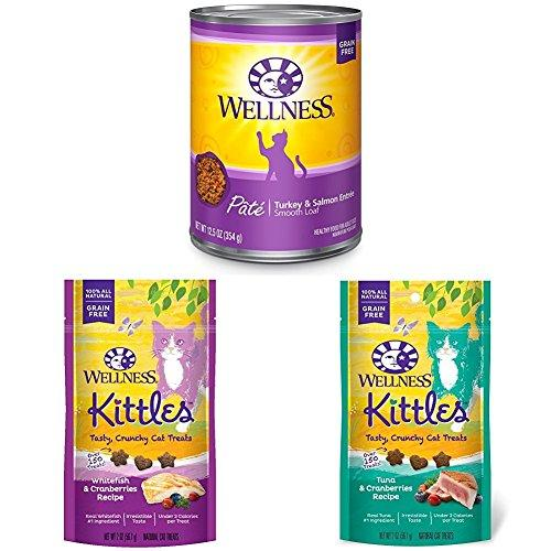 Wellness Natural Grain Free Wet Canned Cat Food, Turkey & Salmon Pate, 12.5-Ounce Can (Pack of 12) with Wellness Kittles Crunchy Natural Grain Free Cat Treats, 2-Ounce Bag (2 Bag Variety)