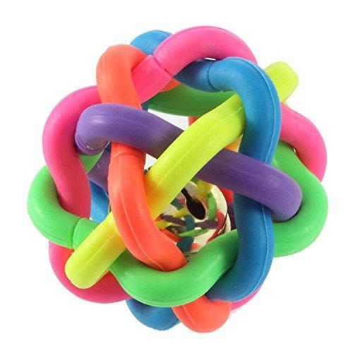 Wobbly Rubber Ball for Dogs, Colorful Pet Puppy Toys Round Chewing Ball with Small Bell, Dental Teething Healthy Teeth Chew Training Play Ball, TPR Bite Resistant Molar Weave Ball (Diameter 3.9