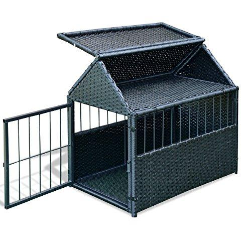 Moon Daughter 28 Inch Cages Kennel PE & Rattan Steel Pet Dog Cage House Backyard Home
