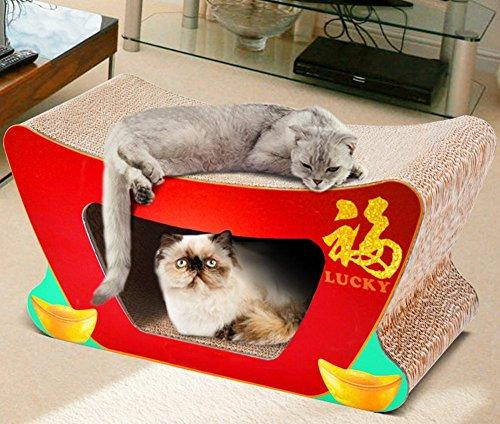 Zero Cat Scratcher Cardboard Lounger With Ball Toy Pet Nest Bed Premium Collapsible Recycled Corrugated Yuanbao To The Cat Scratch Board 500x220x260mm MT-173, red