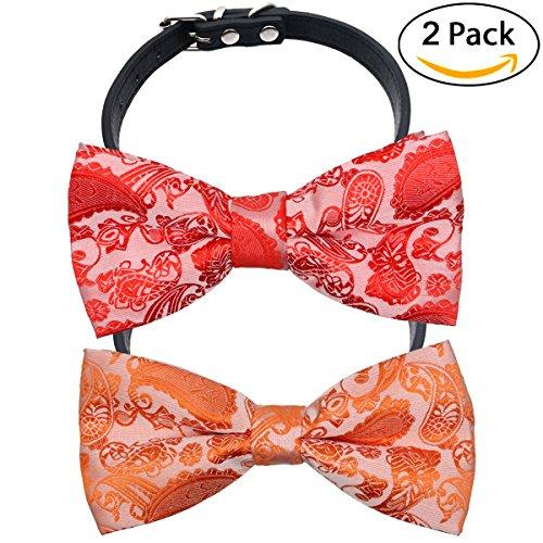 YOY Handcrafted Adorable Pet Bow Ties - 2-pack Adjustable Dog Collar Paisley Bowties Neckties Kitty Puppy Grooming Accessories for Doggy Cat, Neck 8.5