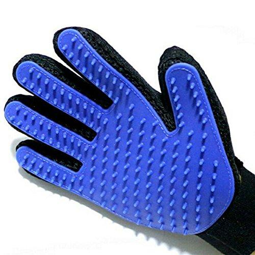 (quality goods )Pet Grooming Glove-Pet Hair Remover Mitt - Massage Tool with Enhanced Five Finger Design- Deshedding Glove for Gentle and Efficient Pet Grooming -1 Pack (blue) (Right hand (Blue))