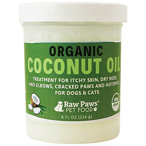 Raw Paws Pet Organic Coconut Oil for Dogs & Cats, 8-ounce - Treatment for Itchy Skin, Dry Nose, Paws, Elbows & Hot Spots - Flea and Tick Prevention - Hairball Control