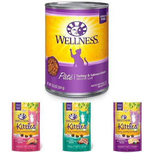 Wellness Natural Grain Free Wet Canned Cat Food, Turkey & Salmon Pate, 12.5-Ounce Can (Pack of 12) with Wellness Kittles Crunchy Natural Grain Free Cat Treats, 2-Ounce Bag (3 Bag Variety)