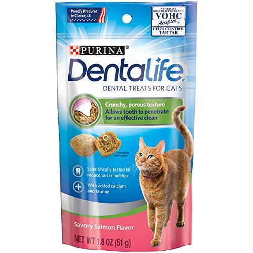 Purina DentaLife Savory Salmon Flavor Adult Cat Dental Treats - (10) 1.8 oz. Pouches