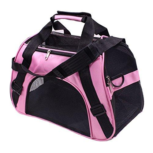 WowowMeow Soft Sided Mesh Pet Carrier Travel Tote Bag for Small Dogs, Cats and Rabbits (L, Pink)