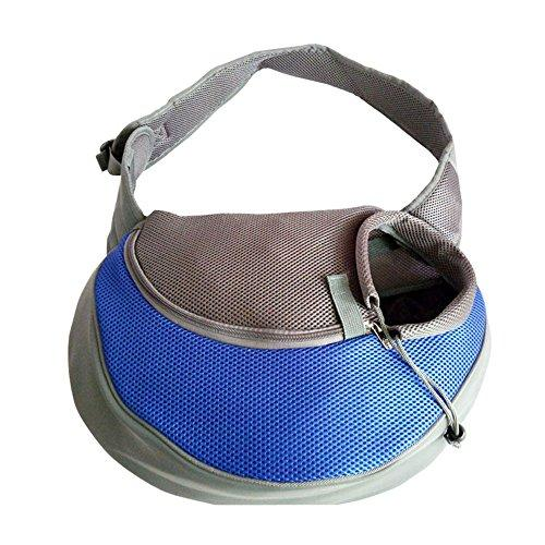 YUDODO Pet Carrier Soft Dog Cat Rabbit Travel Sling Shoulder Bag (Blue, M, fits small animals less than 10lb)