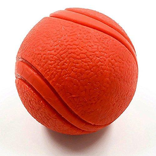 YUSEN Tough Rubber Bouncy Tennis Ball, Floatable Retrieve Chew Toy Virtually Indestructible for Dogs Water Swimming Pool Play, Tennis Size, 2.6 Inch (Red)