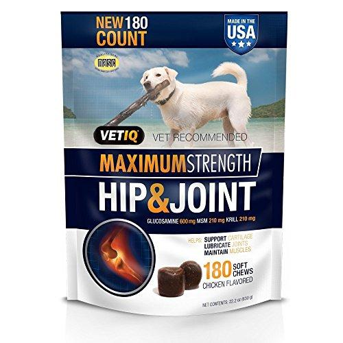 VetIQ Hip & Joint Soft Chew Treats for Dogs, Value Siize One Pack ( 180 Count )