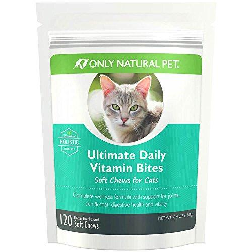Only Natural Pet All-Natural Feline Holistic Ultimate Daily Multi-Vitamin Plus Cat Formula Essential Vitamins And Minerals Pet Supplement - 120 Soft Chew, A 30 Day Supply