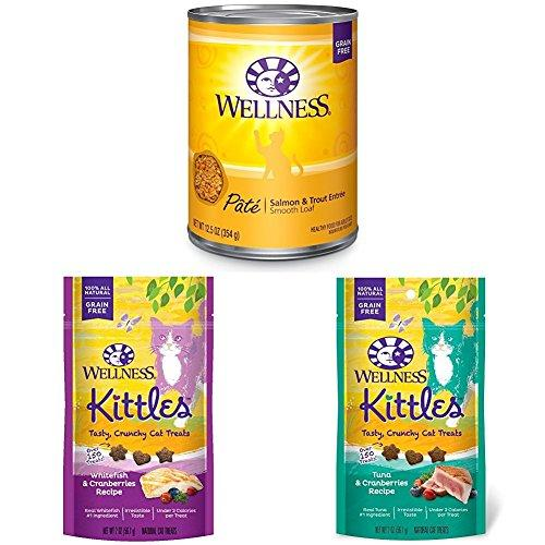 Wellness Natural Grain Free Wet Canned Cat Food, Salmon & Trout Pate, 12.5-Ounce Can (Pack of 12) with Wellness Kittles Crunchy Natural Grain Free Cat Treats, 2-Ounce Bag (2 Bag Variety)